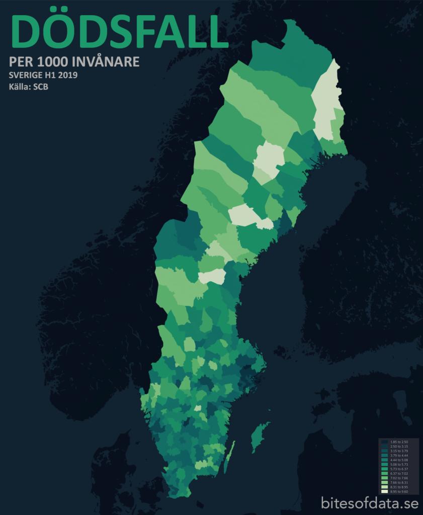Dödsfall per 1000 invånare per kommun Sverige 2019