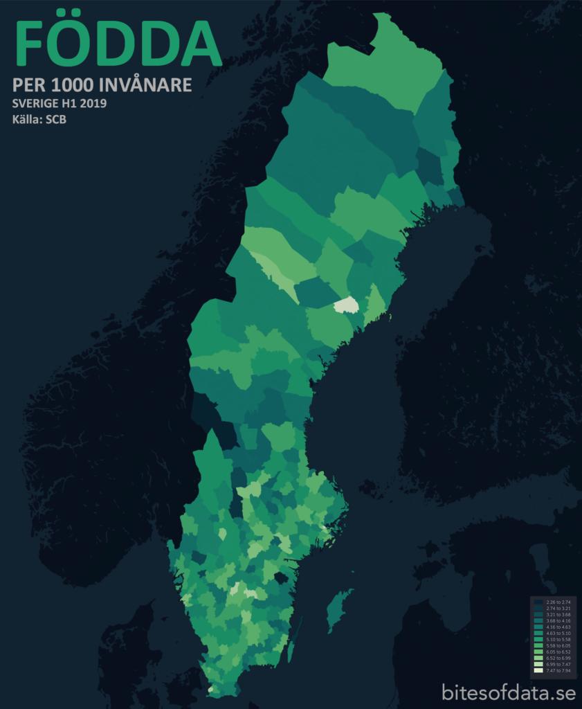Födda per 1000 invånare per kommun i Sverige