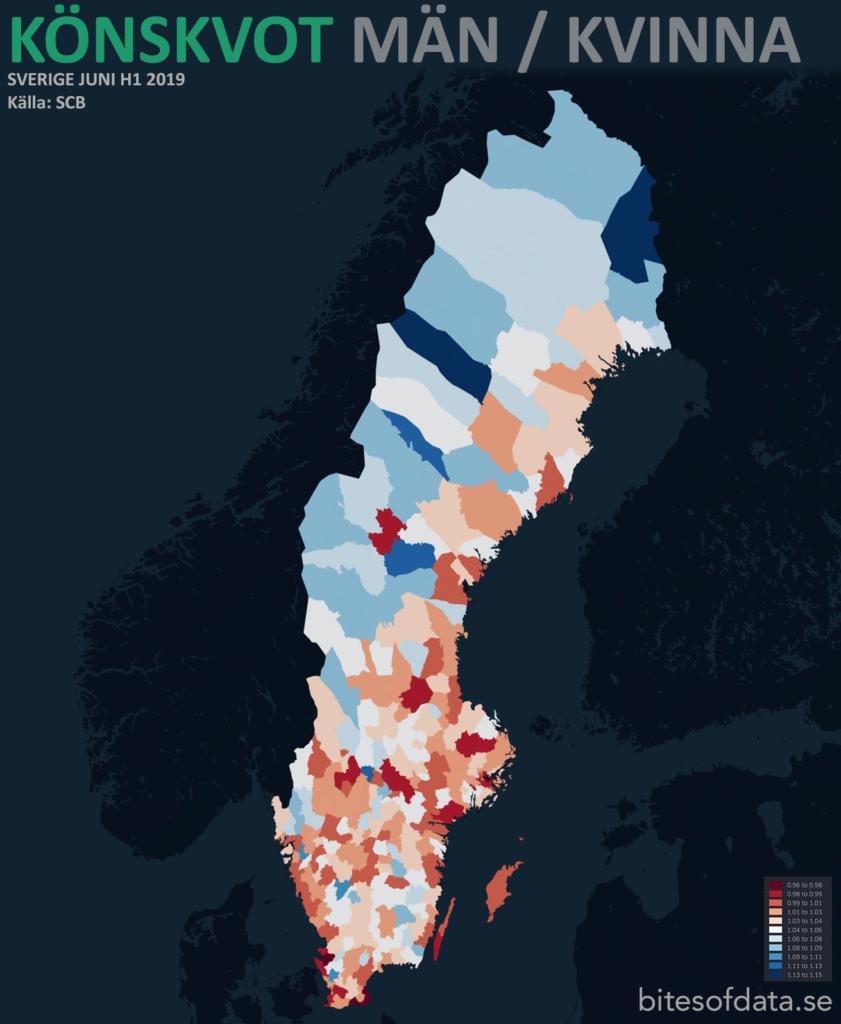 Könskvot män/kvinna i Sveriges kommuner