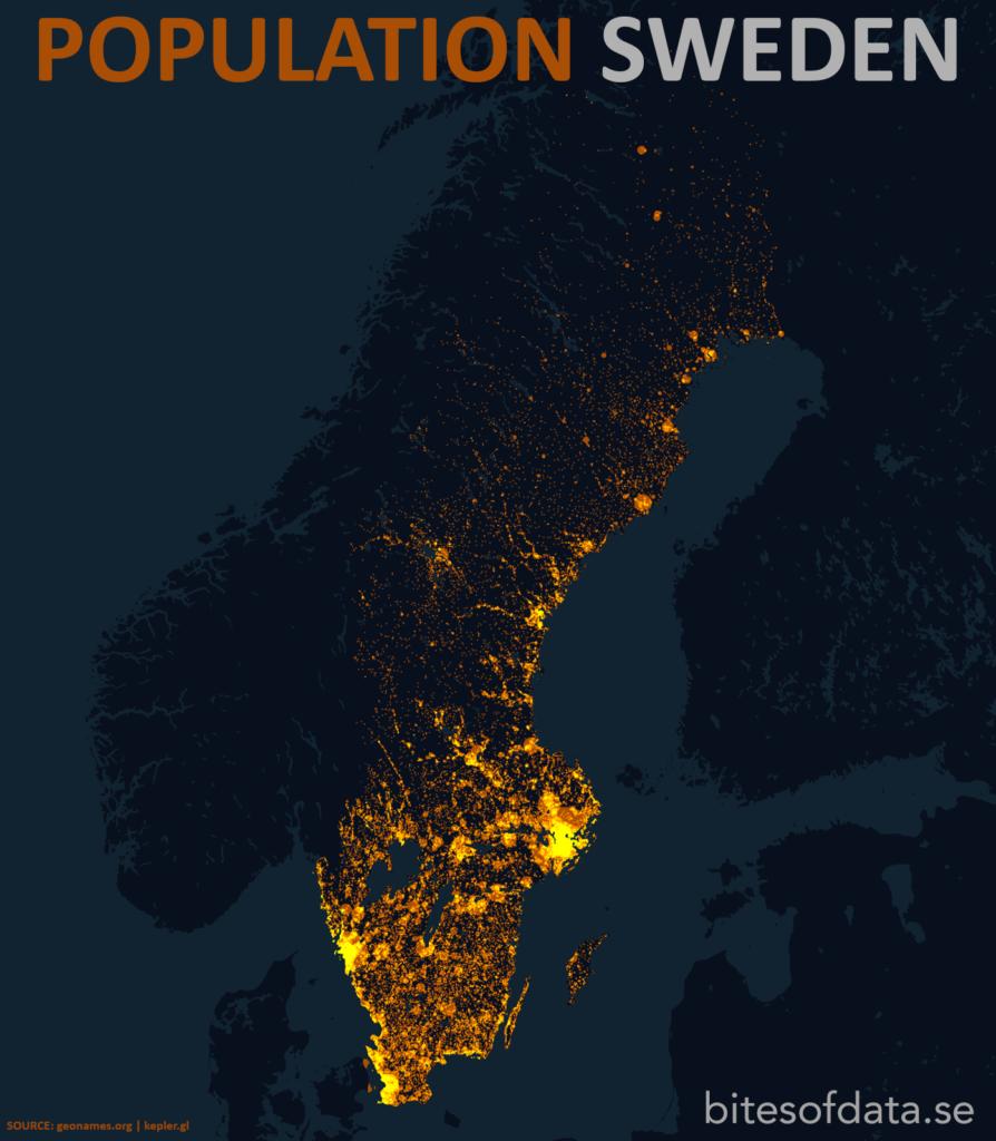 Befolkningskarta Sverige. Sveriges största städer syns.